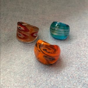 Jewelry - Set of 3 Glass Rings